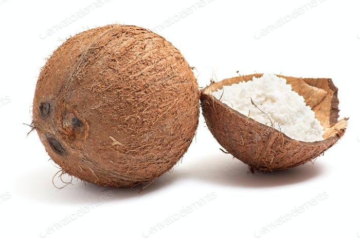 Whole and half part of coconut.