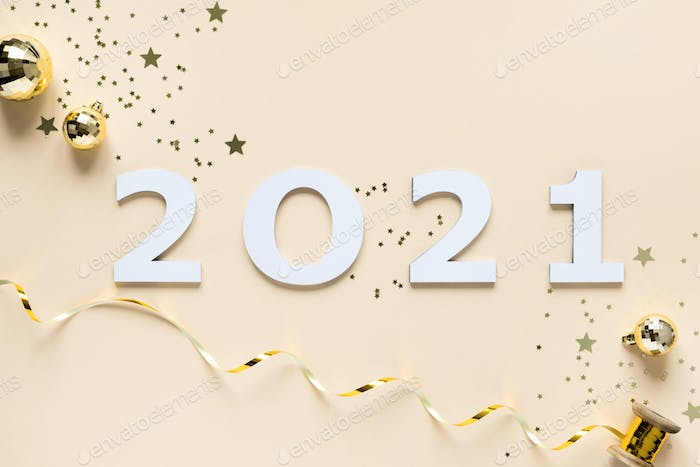 Happy New Shining  composition on Set Sail Champagne color background