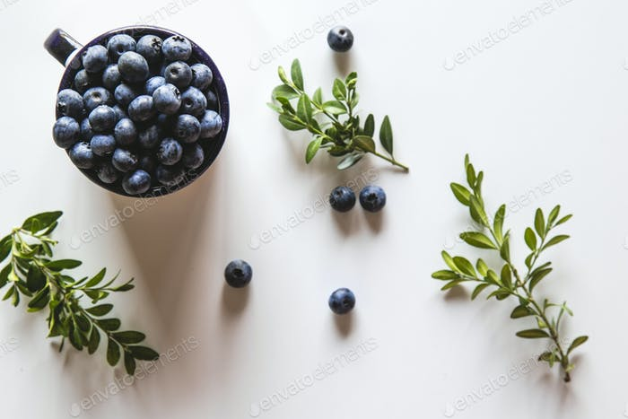 Blueberry explosion. Photo of blueberry in cup on white table. Top view. Healthy food, health