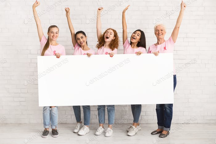 Multiethnic Women Wearing Pink T-Shirts Holding White Board Indoor, Mockup