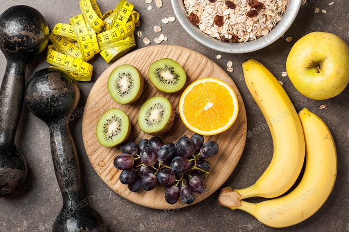 Fitness, healthy food concept