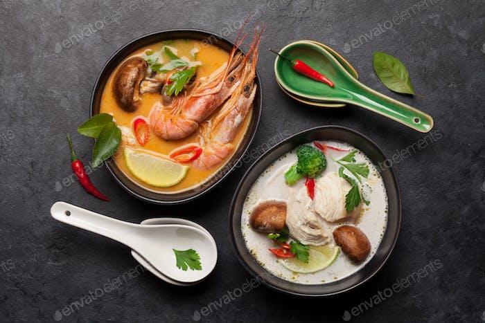 Tom Yum und Tom Kha traditionelle thailändische Suppen