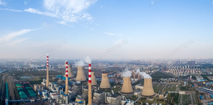 modern large junction power plant panorama