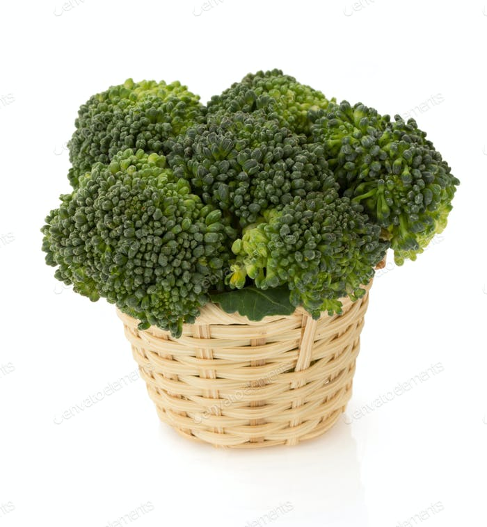 broccoli in basket on white
