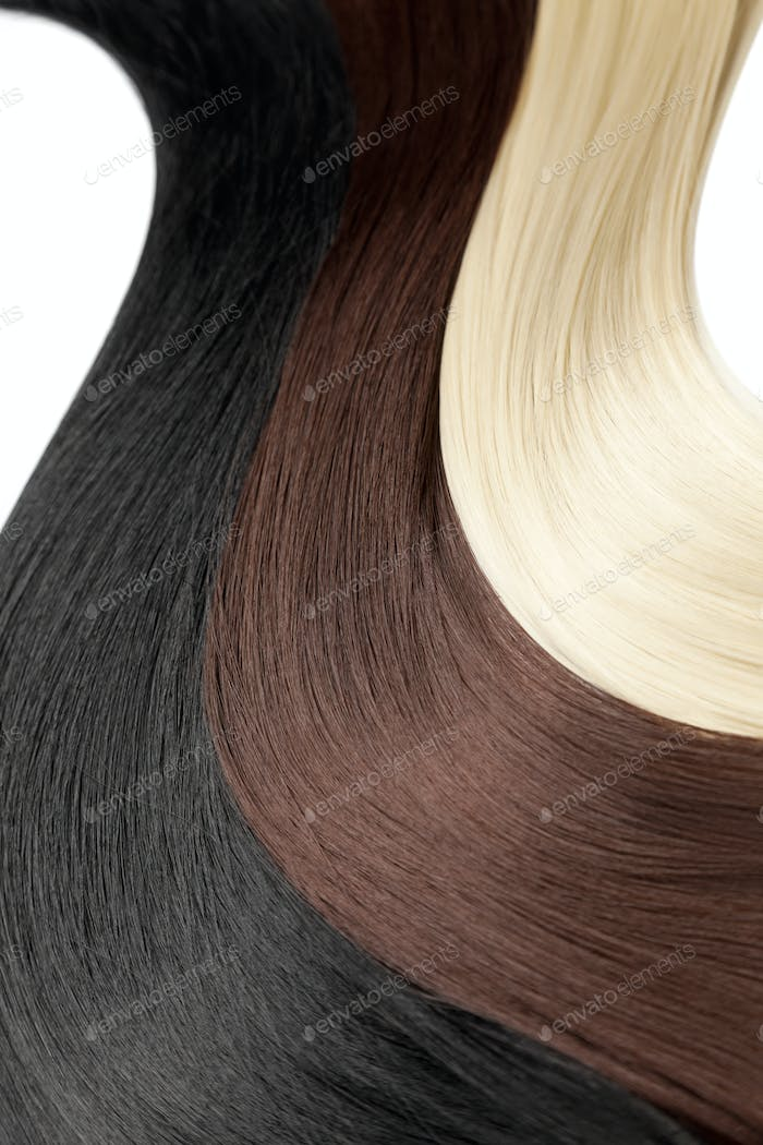Closeup on luxurious colorful glossy hair