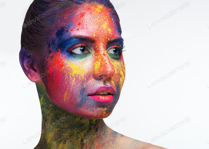 Beautiful woman portrait with bright art make-up