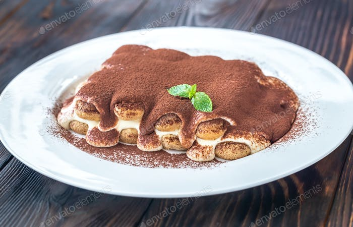 Portion of tiramisu