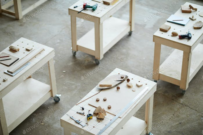 Wheeled tables in carpentry classroom