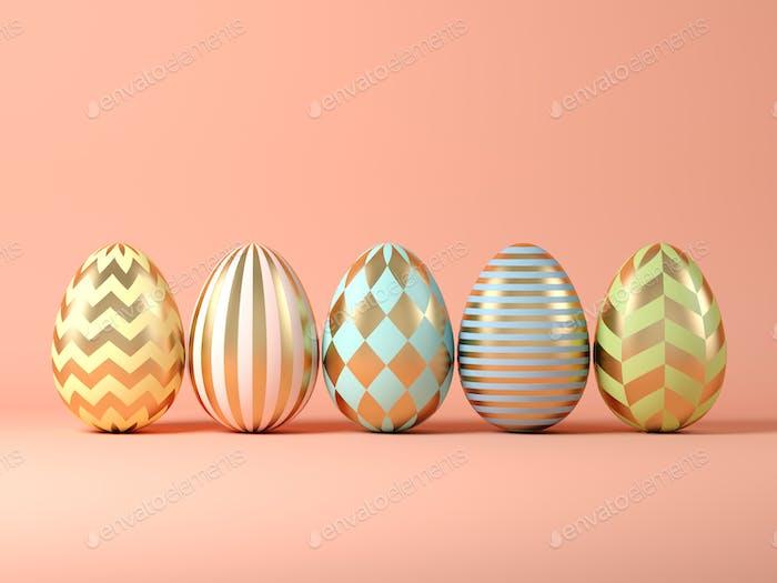 Easter eggs on pink background 3D illustration