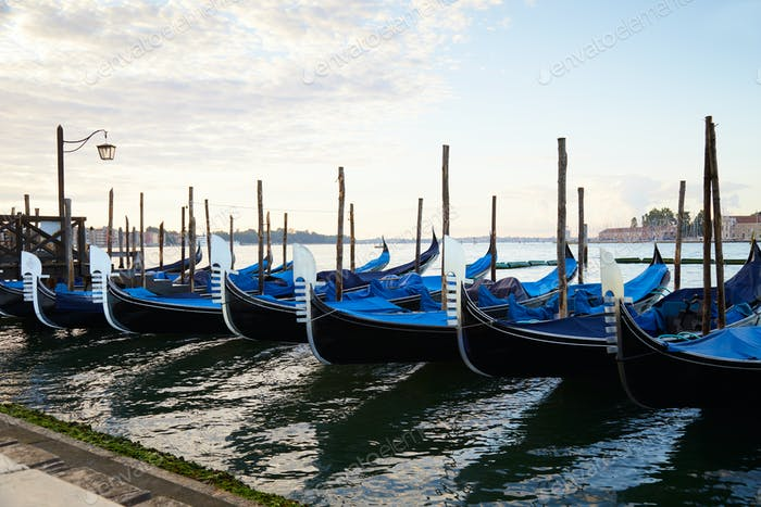 Gondola boats in Grand Canal in Venice, nobody