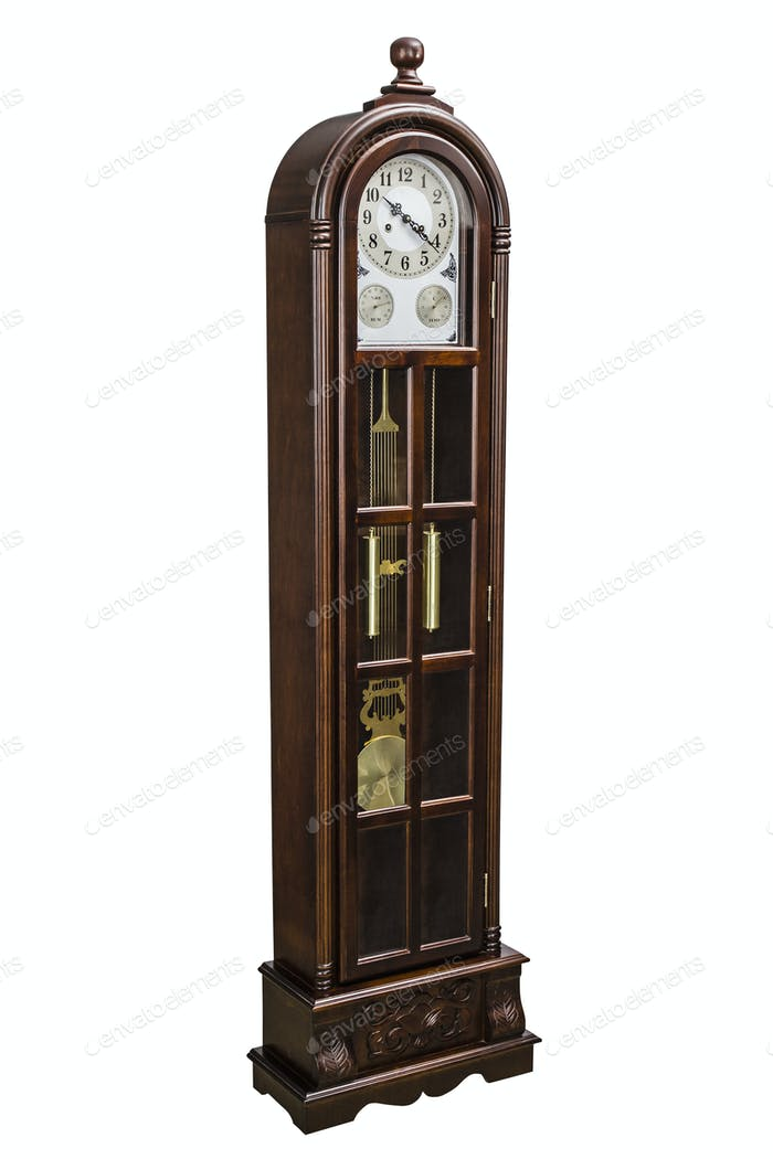 Antique clock with wood carved decoration, isolated on white, wi
