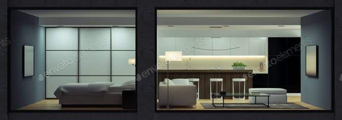 Night interior of the modern  loft  view from outside 3D renderi