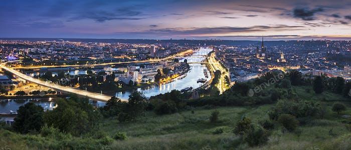 Panorama of Rouen at sunset