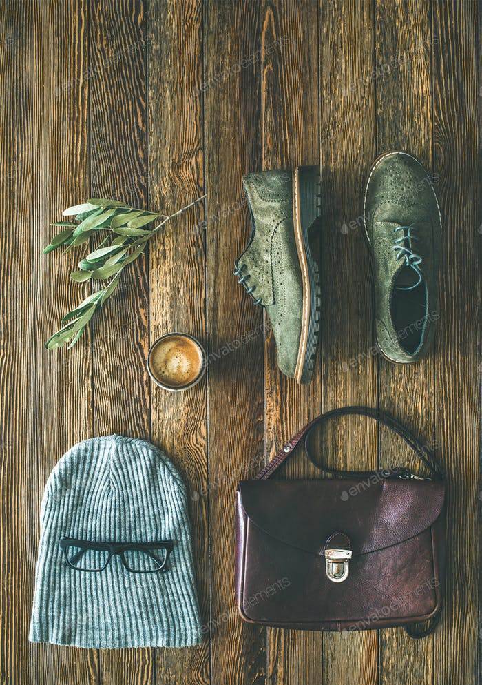 Thumbnail for Flat-lay of woman's fall accessories and coffee, copy space