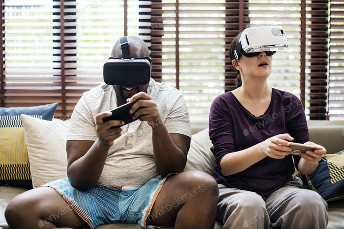 Couple playing VR video game