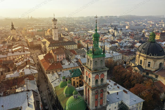 Aerial view of the historical center of Lviv, Ukraine. UNESCO's