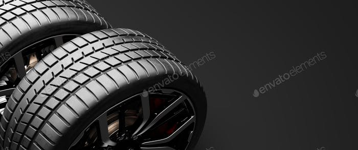 Wheels with modern alu rims on black