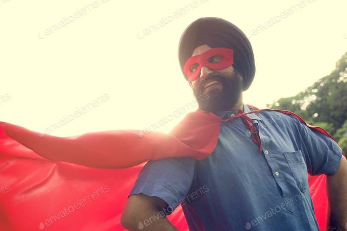 Concepto de Poder de Superhéroe Hombre Indio