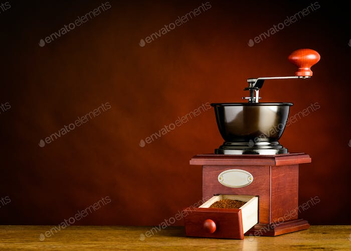 Hand Coffee Grinder with Copy Space