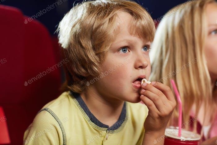 Cute Boy Watching Movie in Cinema