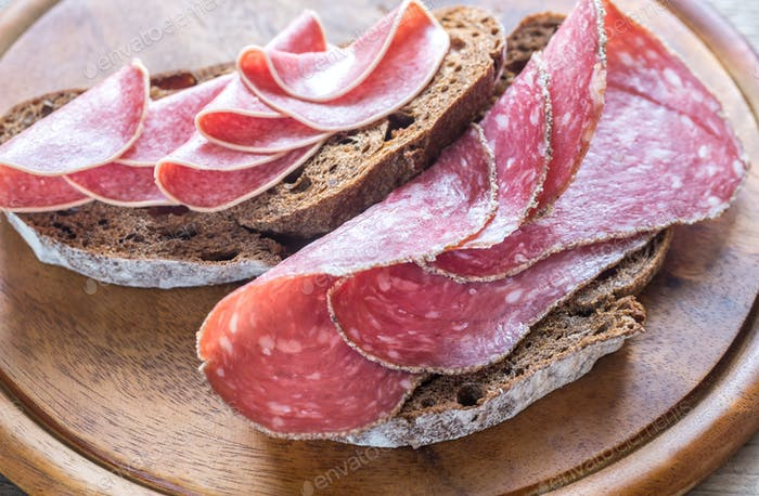 Sandwiches with salami