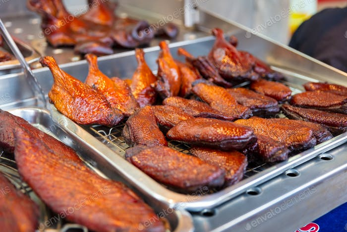 Roasted Duck At Street Market Stall