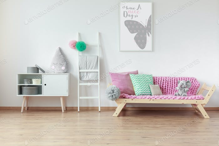 Wooden furniture in kid room