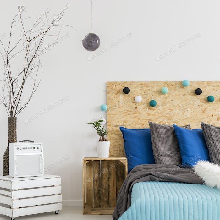 Bedroom with handmade, wooden furnitures