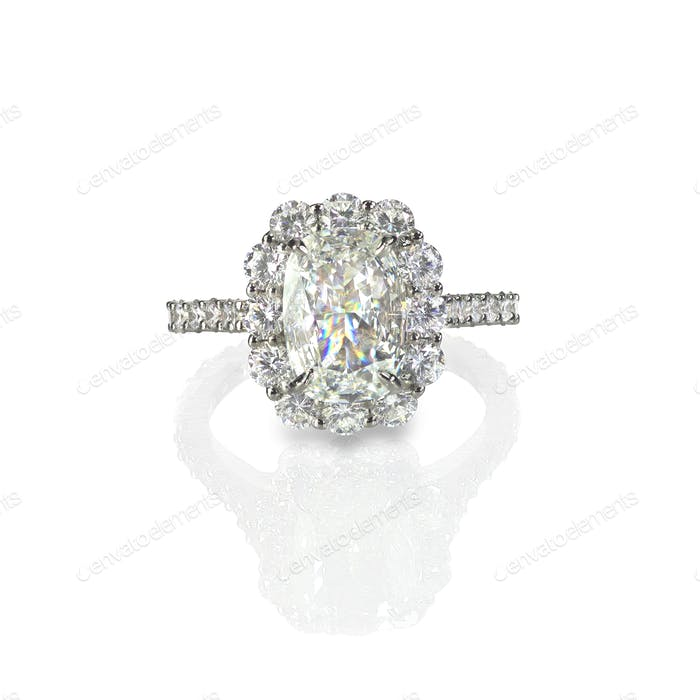 Large carat cushion cut faceted diamond sparkling wedding diamond engagement ring