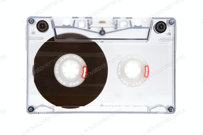 Translucent Audio Tape Isolated on a White Background
