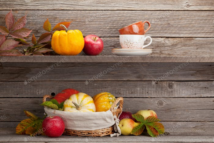Autumn still life with pumpkins and fruits