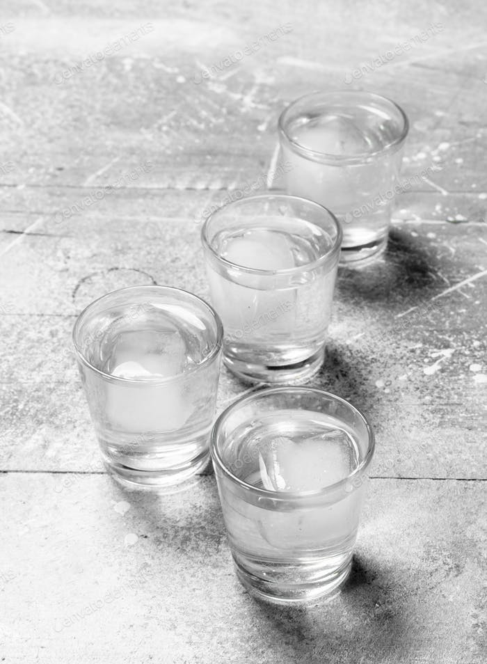 Vodka in a shot glass.