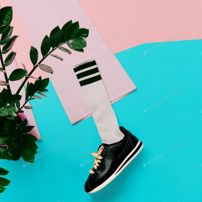Fashion Sneakers and Hipster Socks. Art minimal style design Col