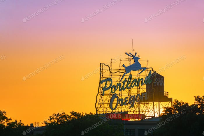 Portland Sign Sunset