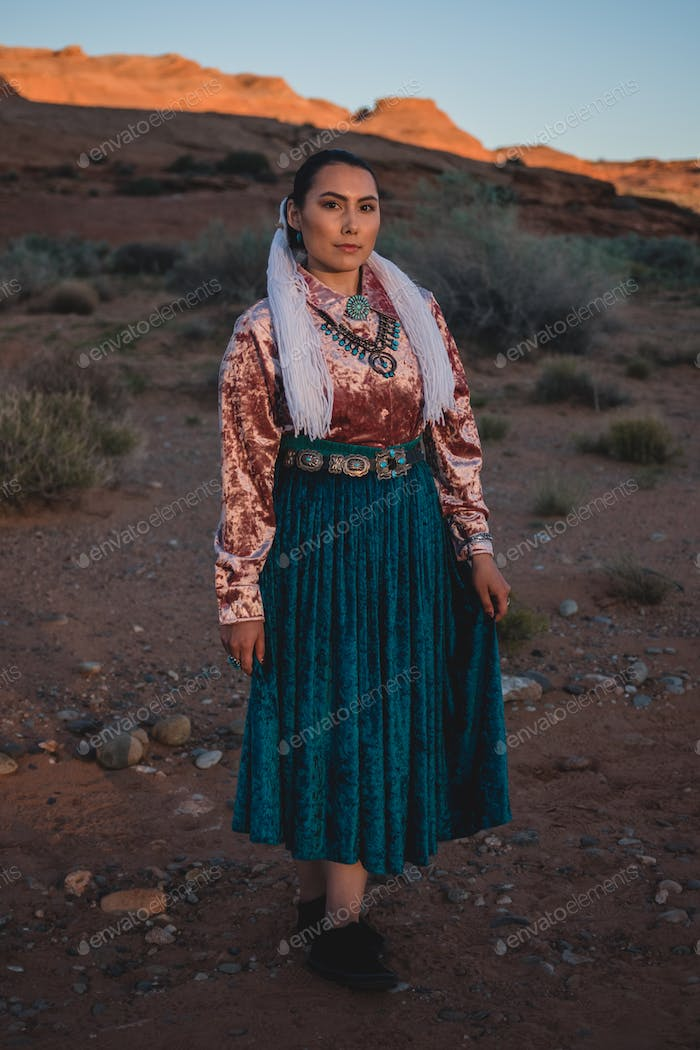 Navajo Woman in Traditional Dress in Northern Arizona