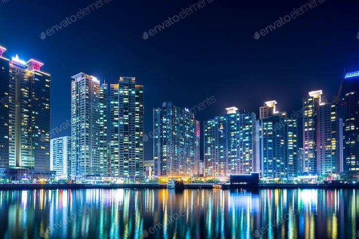 Busan, south Korea, 29 October 2013:- Busan city in the evening