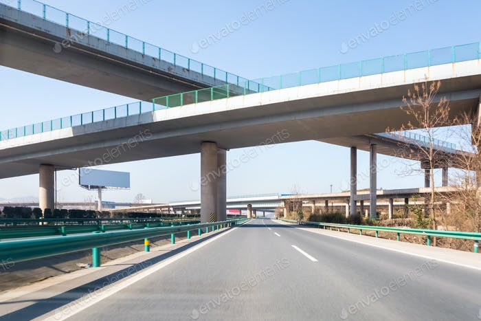 modern freeways with highway overpass