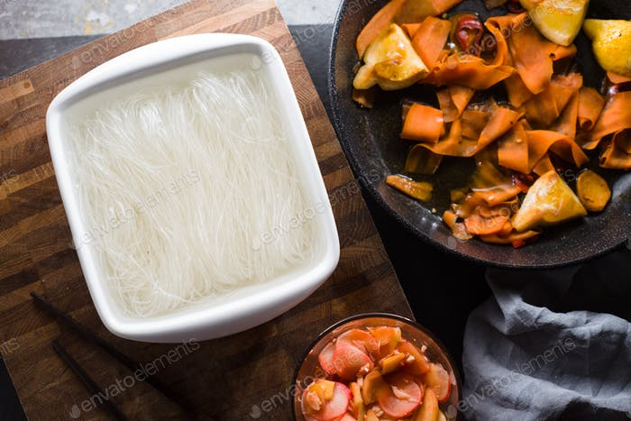 Funchoza and pickled carrots, ginger. Asian cuisine