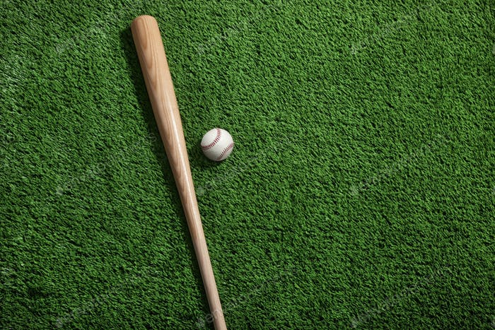 Bat and Ball on Green Field Viewed from Above