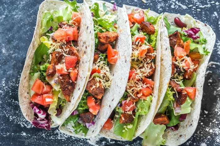 Four mexican tacos