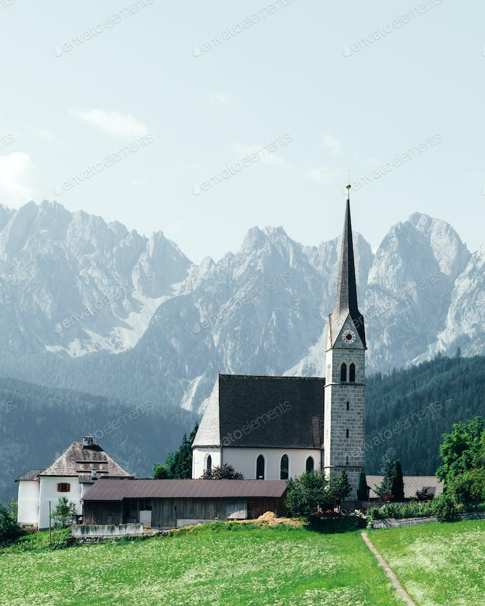 Christianity churh in Gosau village at sunny day.