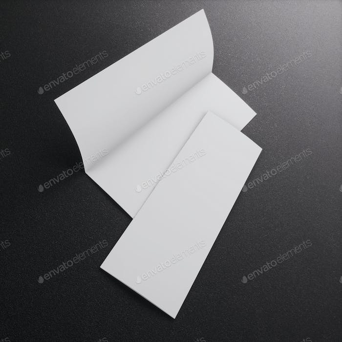 Blank white leaflet Mockup on black, booklet. 3d rendering