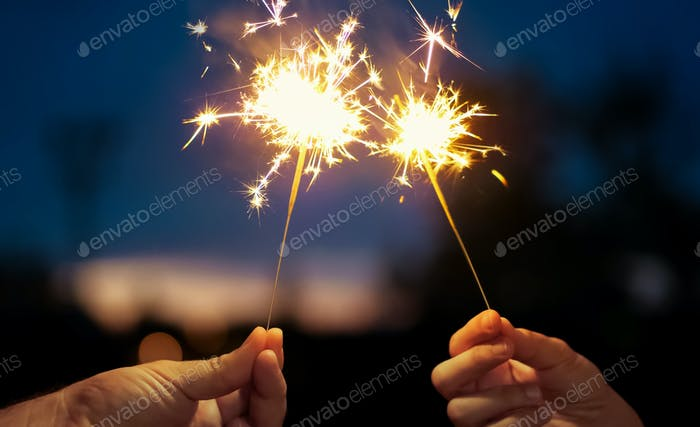 Sparkling stars burning on night background. Movie suitable to satisfy celebrations and holidays.