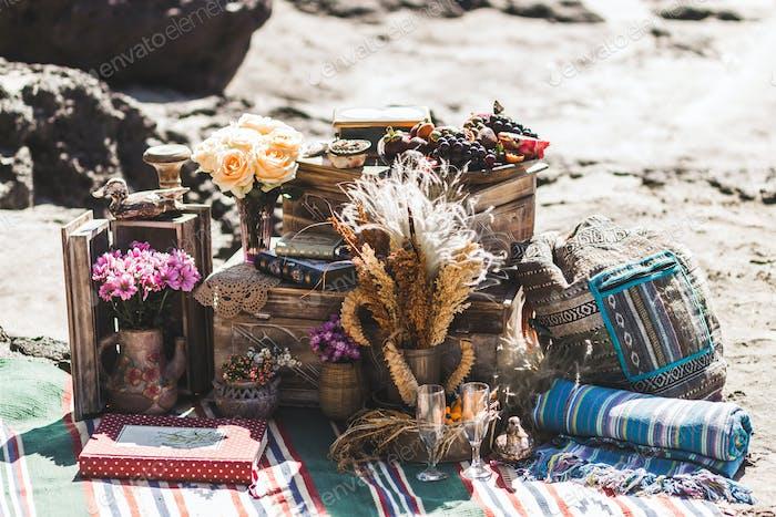 Beach wedding ceremony in boho style