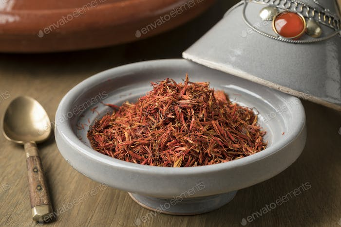 Traditional bowl with Moroccan saffron