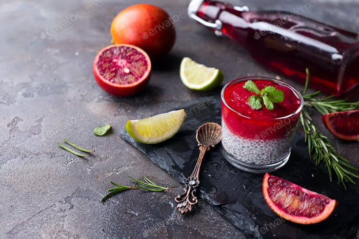 Chia pudding with red berry puree