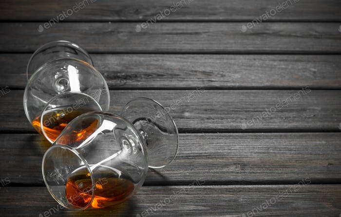 Cognac in a lying glasses.