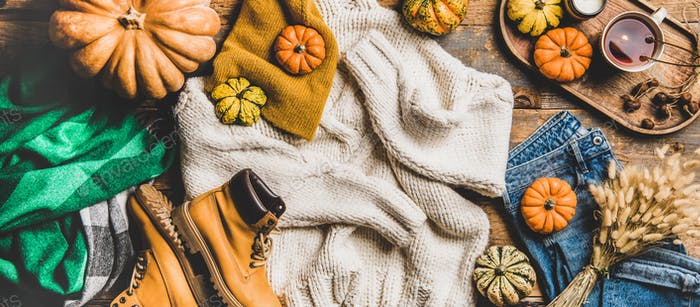 Flat-lay of fall trendy women outfit layout, wide composition