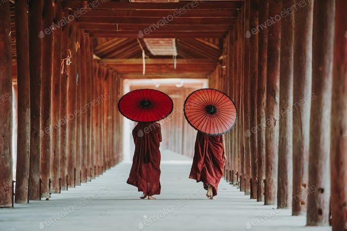 Portrait of  local little buddhist monks.