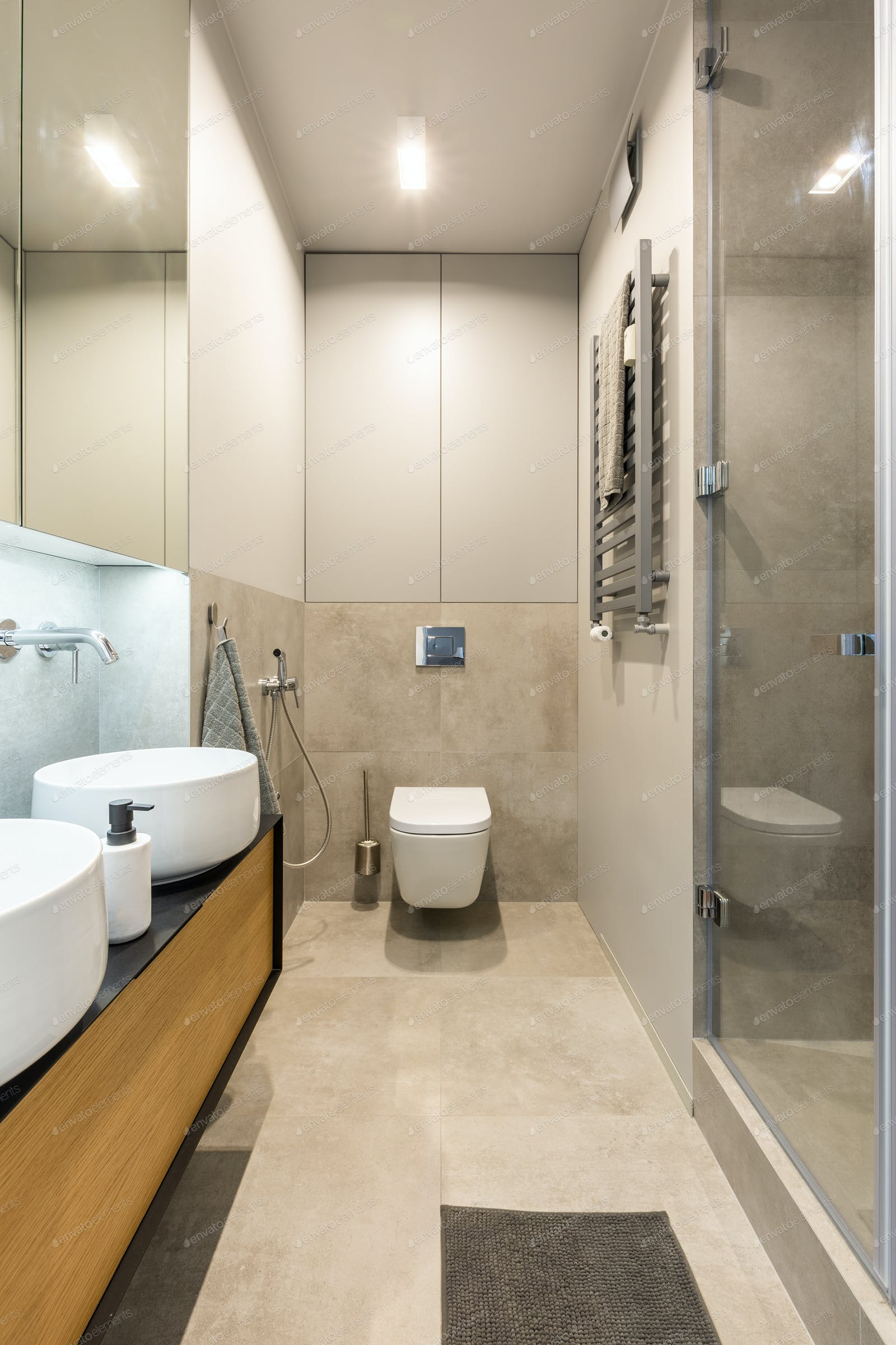 White Toilet Under Light In Modern Beige Bathroom Interior With Photo By Bialasiewicz On Envato Elements